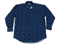 Chaps Mens Dress Shirt Large Blue Geometric Long Sleeve Cotton Button-Down Vtg