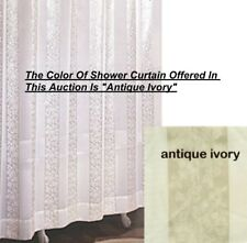 Damask Rose Textured Open Weave Stripes Antique Ivory Fabric Shower Curtain NEW