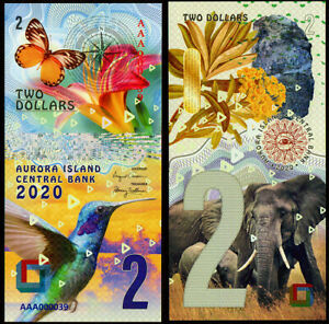 2 DOLLARS AVRORA ISLAND - animals POLYMER COLLECTION BANKNOTE UNC UNCIRCULATED