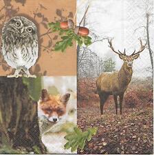 3 Servietten Napkins Herbst Wald Hirsch Eule Fuchs #284
