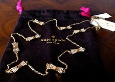 NWT Kate Spade Pave Crystal & Yellow Gold LOCKED IN Bow Scatter Necklace $98