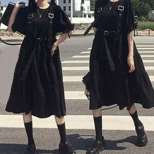 Sweet Girl Gothic Dress Black Lolita Japanese Buckle Strap Punk Puff Sleeve