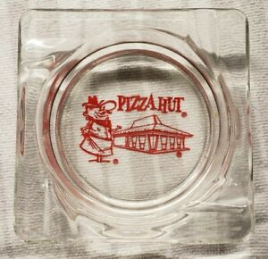 PIZZA HUT square glass ashtray advertising logo vintage