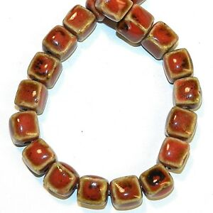 """CPC244 Red & Brown Multi-Tone Handmade 11mm Square Cube Porcelain Beads 6"""""""