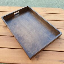 Large Wooden Serving Tray 60 x 40 x 6 cm in Color Brown