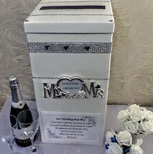 Caja de correos de tarjeta de boda de plata personalizado Sr. & sra. Corazones Diamante Bling