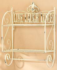 Live Laugh Love Sentiment 2 Wires Wall Shelf Vintage Distressed Bath Shelf