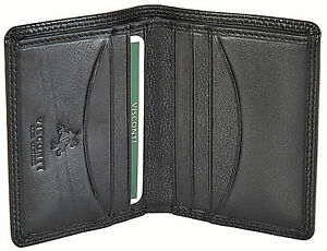 VISCONTI Small Black Slim Bifold Leather Wallet With RFID Protection - HT6