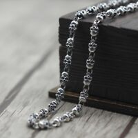 Solid 925 Sterling Silver Mens Heavy Beaded Skull Chain Necklace 65cm