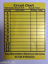 50 Personalised, 12 Way Distribution Board Circuit Chart Labels. BS7671.