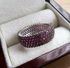 SPARKLING PINK CUBIC ZIRCONIA 925 SILVER BAND THUMB RING SZ P 8