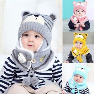 Cute Toddler Baby Boys Girl Warm Winter Hat Knit Beanie Cap Scarf Set UK