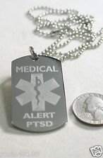 MEDICAL ALERT PTSD  SILVER  STAINLESS STEEL  DOG TAG NECKLACE FREE  ENGRAVING