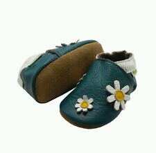 Sayoyo Soft Sole Leather Baby Moccasins Green Flower Baby Girl