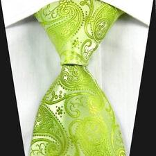 SALE Mens Lime Green Tie Floral Paisley Wedding Design - Classic Satin Silk 617