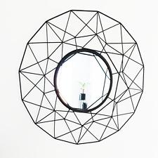 Stunning Large Black Geometric Wall Mirror by Cherish Home - 64cm x 64cm
