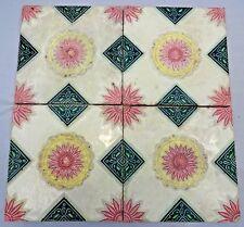 VINTAGE TILES CERAMIC PORCELAIN FLOWER DESIGN ART NOUVEAU MAJOLICA JAPAN 4 PIECE