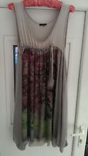 BNWT JOE BROWNS floaty pale grey stretch tunic dress size L floral over-layer