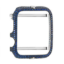 Apple Watch Bezel Sterling Silver Blue Simulated Diamonds Iced Out 42mm Custom