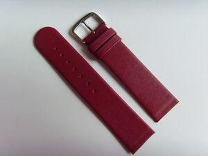 Watch Strap Leather Red 22 MM Slide Attachment Screws Skagen BERING Red