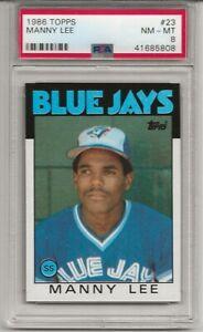 1986 TOPPS #23 MANNY LEE, PSA 8 NM-MT, TORONTO BLUE JAYS, L@@K !