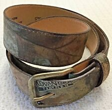 Mens Cotton Twill Camo Belt With Brown Leather Accents