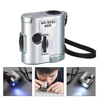 LED 60X Tasca Microscopio Gioielliere Lente D'ingrandimento Luce UV Bicchiere