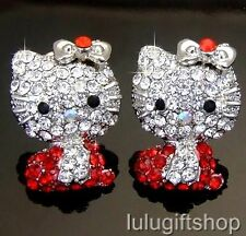 HelloKitty CAT 18K WHITE GOLD PLATED STUD EARRINGS USE RED SWAROVSKI CRYSTALS
