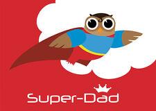 Happy Eule 2 Postkarten Eulen Vatertag Superman Super-Dad Grußkarte owl Vater