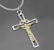 925 ECHT SILBER *** Großer Kreuz Jesus Anhänger bicolor 40 mm,  Kette optional