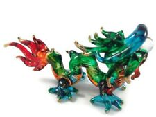 TINY CRYSTAL DRAGON HAND BLOWN CLEAR GLASS ART DRAGON FIGURINE ANIMAL COLLECTION