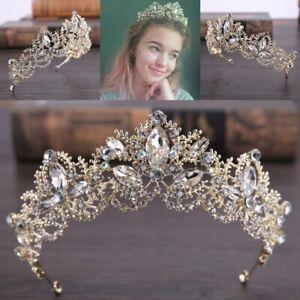 Baroque Luxury Crystal Bridal Crown Tiaras Gold Diadem for Women Bride Wedding