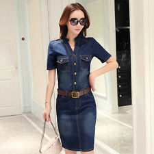 Ladies Denim Shirt Dress Short Sleeve Pocket Bodycon Distressed Fade Retro Blue