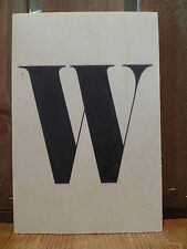 WOODEN POSTCARD / SIGN ALPHABET LETTER W - OTHER LETTERS AVAIL - POST DAILY + WW