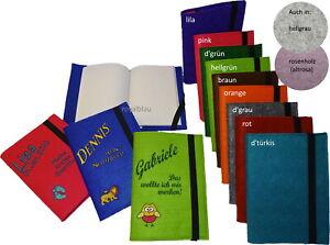 Filz Einband/Buch Umschlag m. Notizbuch A5 mit Name & Motiv/Sternzeiche bestickt