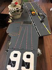 GI JOE USS FLAGG AIRCRAFT CARRIER 1985 HASBRO 99% COMPLETE U.S.S. WITH RAILING!