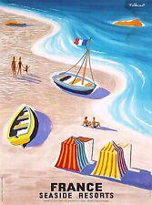 France Seaside Resorts Vintage French Travel Advertisement Art Poster Print