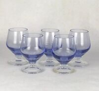 Vintage Indigo Blue Cordial Glasses Clear Footed Set Of 5
