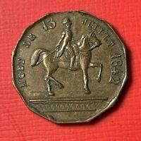 #4838 - MEDAILLE OU JETON : L'ARMEE AU DUC D'ORLEANS PRINCE ROYAL 1842 RARE