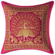 12 x 12 Indian Decorative Pillowcase Floral Peacock Brocade Throw Pillow Cover