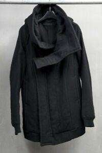 Julius Black Shrink Wool Deformed Hooded Coat Jacket 437BLM3 size 1