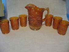 IMPERIAL CARNIVAL GLASS MARIGOLD GRAPE PATTERN ,PITCHER AND 6 TUMBLER