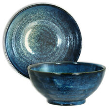 "Japanese 7.25""D Porcelain Rice Ramen Noodle Soup Bowl Blue Swirl Made in Japan"