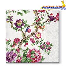 20 Paper Lunch Napkins JAPANESE GARDEN Serviettes Pink Flowers Stylish 3ply