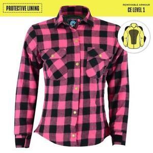 Johnny Reb Women's Black heath Motorcycle Shirt- Pink/Plaid