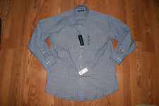 NWT Mens TOMMY HILFIGER Blue Checkered L/S Dress Shirt XXL 18-18 1/2 36-37