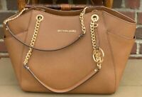 Michael Kors Jet Set Travel Chain Brown Saffiano Leather Tote Shoulder Bag