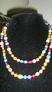 """HONORA  MULTI COLOURED PEARLS 36"""" LONG OF PEARLS NEW"""