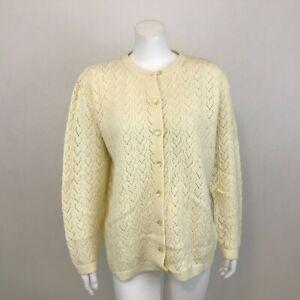 Vintage Trafashions Wintuk Cardigan Womens L Acrylic Open Knit Button Up Sweater
