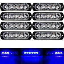 8Pc Blue/Blue 6LED Car Truck Emergency Warning Caution Hazard Flash Strobe Light